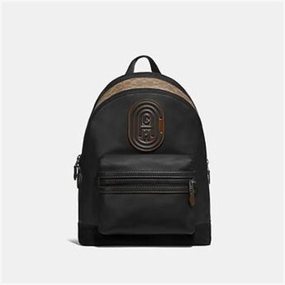 Fashion 4 Coach ACADEMY BACKPACK WITH SIGNATURE CANVAS BLOCKING AND COACH PATCH
