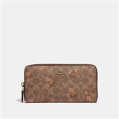 Fashion 4 Coach ACCORDION ZIP WALLET IN SIGNATURE CANVAS WITH FLORAL PRINT