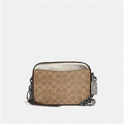Fashion 4 Coach CAMERA BAG IN SIGNATURE CANVAS WITH RIVETS AND SNAKESKIN DETAIL