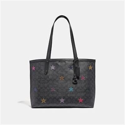 Fashion 4 Coach CENTRAL TOTE IN SIGNATURE CANVAS WITH STAR APPLIQUE AND SNAKESKIN DETA