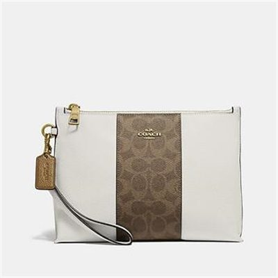 Fashion 4 Coach CHARLIE POUCH WITH SIGNATURE CANVAS BLOCKING