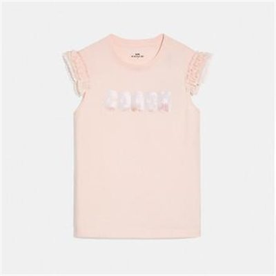 Fashion 4 Coach COACH PRINT T-SHIRT WITH EMBROIDERED CAP SLEEVES