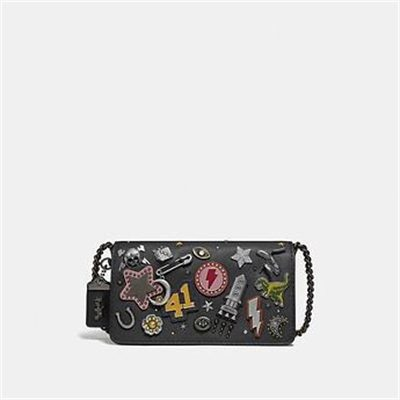 Fashion 4 Coach DINKY WITH SIGNATURE CANVAS DETAIL AND SOUVENIR PINS