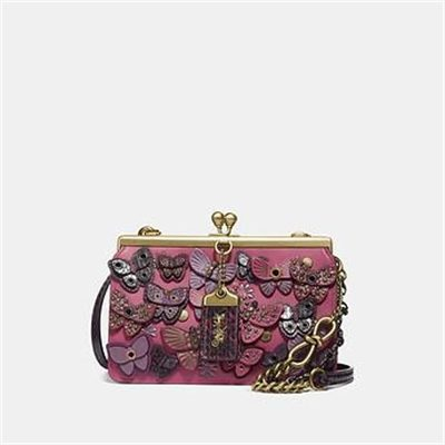 Fashion 4 Coach DOUBLE FRAME BAG 19 WITH BUTTERFLY APPLIQUE AND SNAKESKIN DETAIL