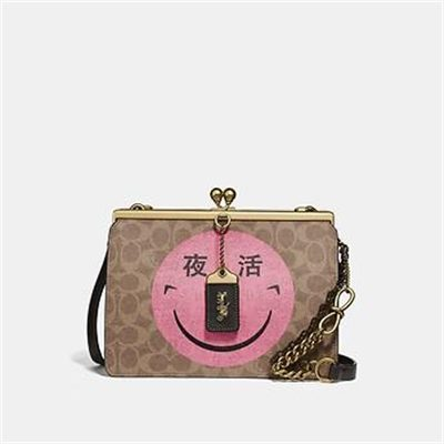 Fashion 4 Coach DOUBLE FRAME BAG IN SIGNATURE CANVAS WITH REXY BY YETI OUT