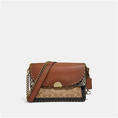 Fashion 4 Coach DREAMER SHOULDER BAG IN SIGNATURE CANVAS WITH SNAKESKIN DETAIL