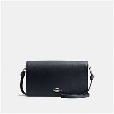 Fashion 4 Coach FOLDOVER CROSSBODY CLUTCH IN POLISHED PEBBLE LEATHER