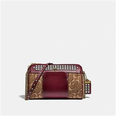 Fashion 4 Coach JONI CROSSBODY IN SIGNATURE JACQUARD WITH PYRAMID RIVETS