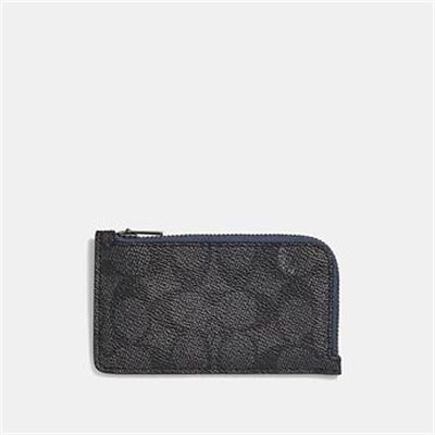 Fashion 4 Coach L-ZIP CARD CASE WITH SIGNATURE CANVAS BLOCKING