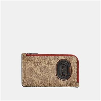 Fashion 4 Coach L-ZIP CARD CASE WITH SIGNATURE CANVAS BLOCKING AND COACH PATCH