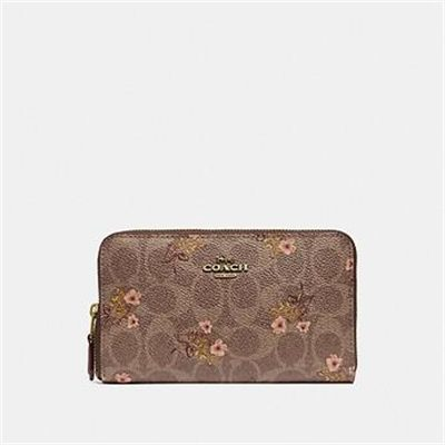 Fashion 4 Coach MEDIUM ZIP AROUND WALLET IN SIGNATURE CANVAS WITH FLORAL PRINT