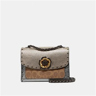 Fashion 4 Coach PARKER 18 IN SIGNATURE CANVAS WITH RIVETS AND SNAKESKIN DETAIL