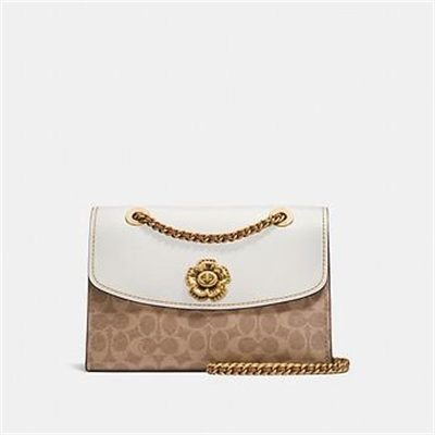 Fashion 4 Coach PARKER IN SIGNATURE CANVAS WITH TEA ROSE TURNLOCK