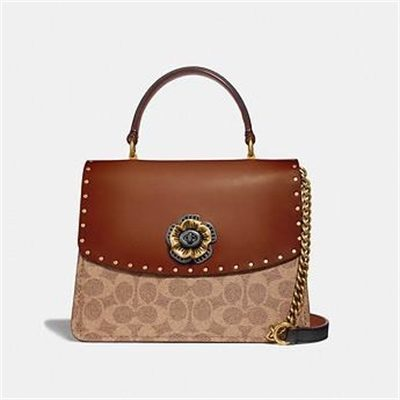 Fashion 4 Coach PARKER TOP HANDLE IN SIGNATURE CANVAS WITH RIVETS