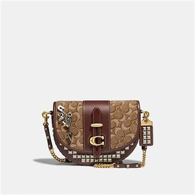 Fashion 4 Coach SADDLE 20 IN SIGNATURE JACQUARD WITH PYRAMID RIVETS