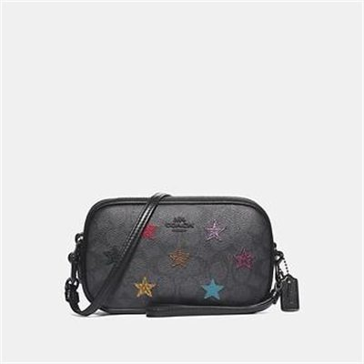 Fashion 4 Coach SADIE CROSSBODY CLUTCH IN SIGNATURE CANVAS WITH STAR APPLIQUE AND SNAK