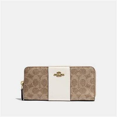 Fashion 4 Coach SLIM ACCORDION ZIP WALLET IN COLORBLOCK SIGNATURE CANVAS