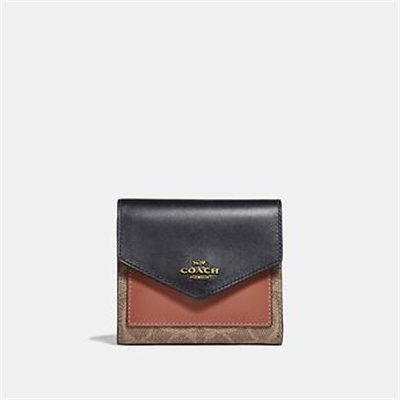 Fashion 4 Coach SMALL WALLET IN COLORBLOCK SIGNATURE CANVAS