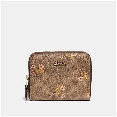 Fashion 4 Coach SMALL ZIP AROUND WALLET IN SIGNATURE CANVAS WITH FLORAL PRINT