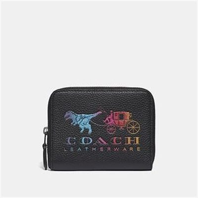 Fashion 4 Coach SMALL ZIP AROUND WALLET WITH REXY AND CARRIAGE