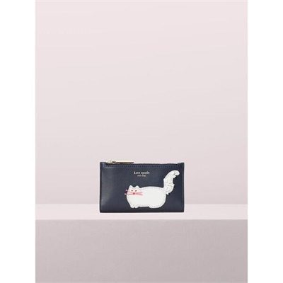 Fashion 4 - beaded cat small slim bifold wallet