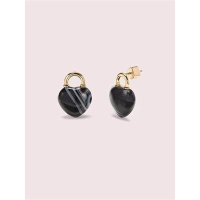 Fashion 4 - open heart stone lock studs