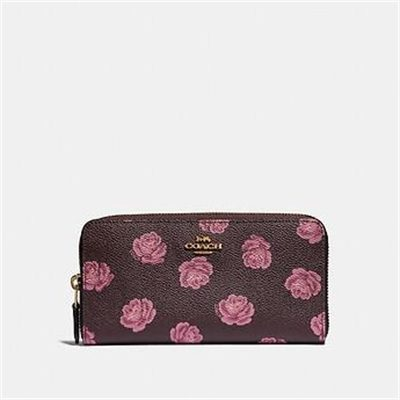 Fashion 4 Coach ACCORDION ZIP WALLET WITH ROSE PRINT