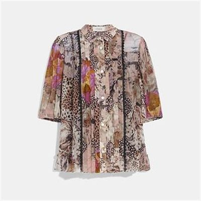Fashion 4 Coach BUTTON DOWN BLOUSE WITH KAFFE FASSETT PRINT