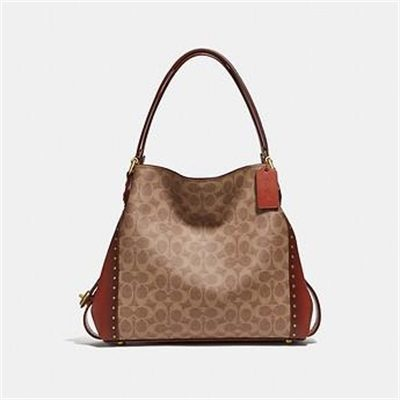 Fashion 4 Coach EDIE SHOULDER BAG 31 IN SIGNATURE CANVAS WITH BORDER RIVETS