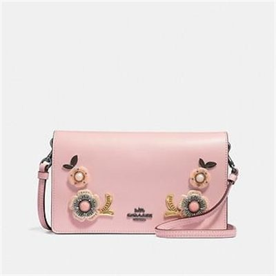 Fashion 4 Coach HAYDEN FOLDOVER CROSSBODY CLUTCH WITH TEA ROSE STONES
