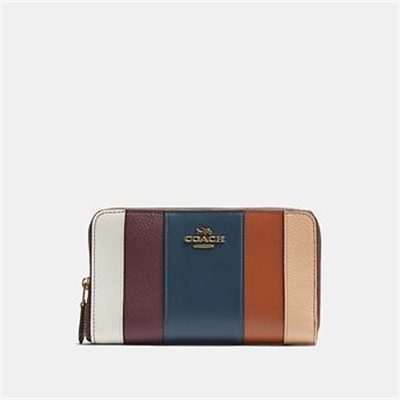 Fashion 4 Coach MEDIUM ZIP AROUND WALLET WITH PATCHWORK STRIPES