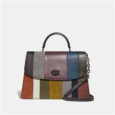 Fashion 4 Coach PARKER TOP HANDLE 32 WITH PATCHWORK STRIPES
