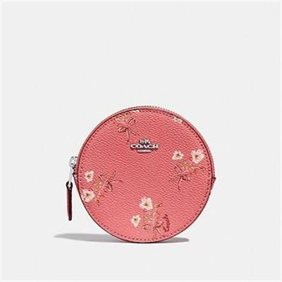 Fashion 4 Coach ROUND COIN CASE WITH FLORAL BOW PRINT