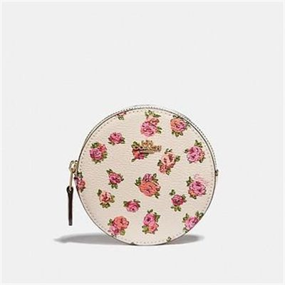Fashion 4 Coach ROUND COIN CASE WITH MINI VINTAGE ROSE PRINT