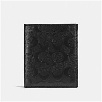 Fashion 4 Coach SLIM COIN WALLET IN SIGNATURE CROSSGRAIN LEATHER
