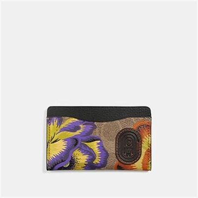 Fashion 4 Coach SMALL CARD CASE IN SIGNATURE CANVAS WITH KAFFE FASSETT PRINT