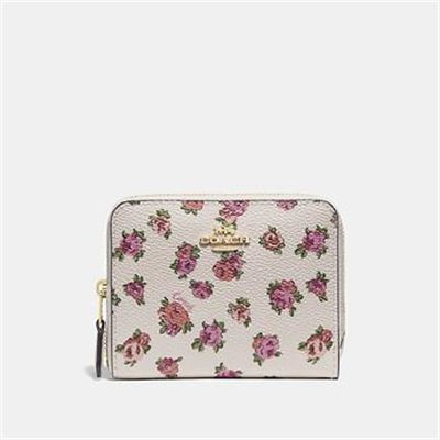 Fashion 4 Coach SMALL ZIP AROUND WALLET WITH MINI VINTAGE ROSE PRINT