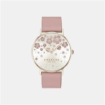 Fashion 4 Coach PERRY BLUSH LEATHER STRAP WATCH