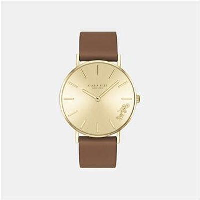 Fashion 4 Coach PERRY SADDLE LEATHER STRAP WATCH