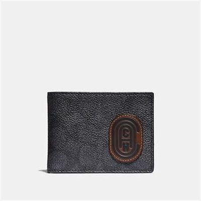 Fashion 4 Coach SLIM BILLFOLD WALLET IN SIGNATURE CANVAS WITH COACH PATCH