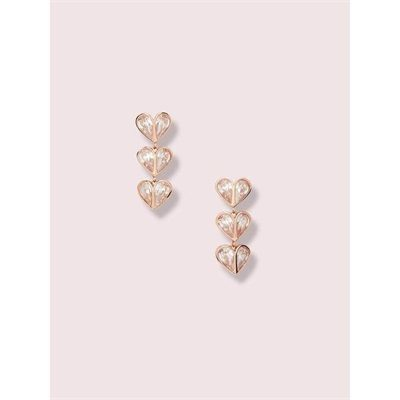 Fashion 4 - rock solid stone heart linear earrings