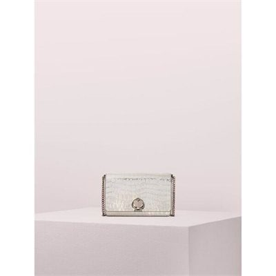 Fashion 4 - romy metallic croc-embossed chain wallet