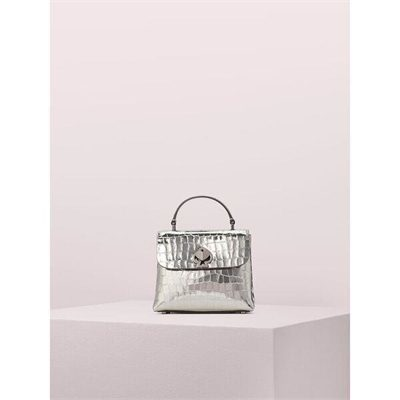 Fashion 4 - romy metallic croc-embossed mini top handle bag
