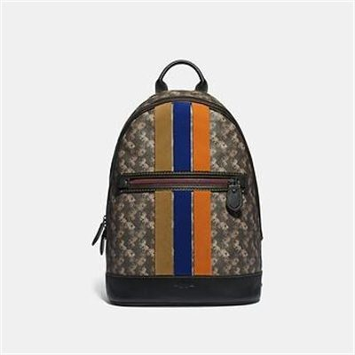 Fashion 4 Coach BARROW BACKPACK WITH HORSE AND CARRIAGE PRINT AND VARSITY STRIPE