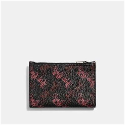 Fashion 4 Coach BIFOLD ZIP CARD CASE WITH HORSE AND CARRIAGE PRINT