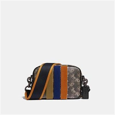 Fashion 4 Coach CAMERA BAG 16 WITH HORSE AND CARRIAGE PRINT AND VARSITY STRIPE