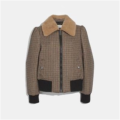 Fashion 4 Coach CHECK BOMBER JACKET WITH REMOVABLE SHEARLING COLLAR