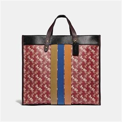 Fashion 4 Coach FIELD TOTE 40 WITH HORSE AND CARRIAGE PRINT AND VARSITY STRIPE