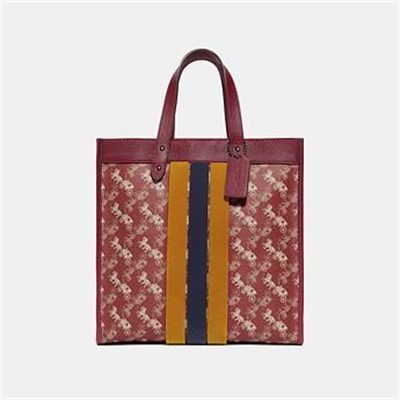 Fashion 4 Coach FIELD TOTE WITH HORSE AND CARRIAGE PRINT AND VARSITY STRIPE