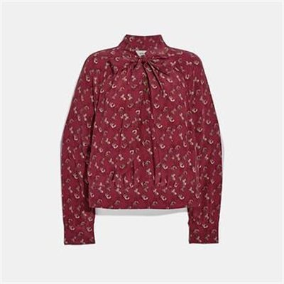 Fashion 4 Coach HORSE AND CARRIAGE PRINT TIE NECK BLOUSE
